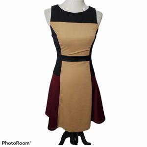 NikiBiki Dress Color Block Fit Flare Dress Small